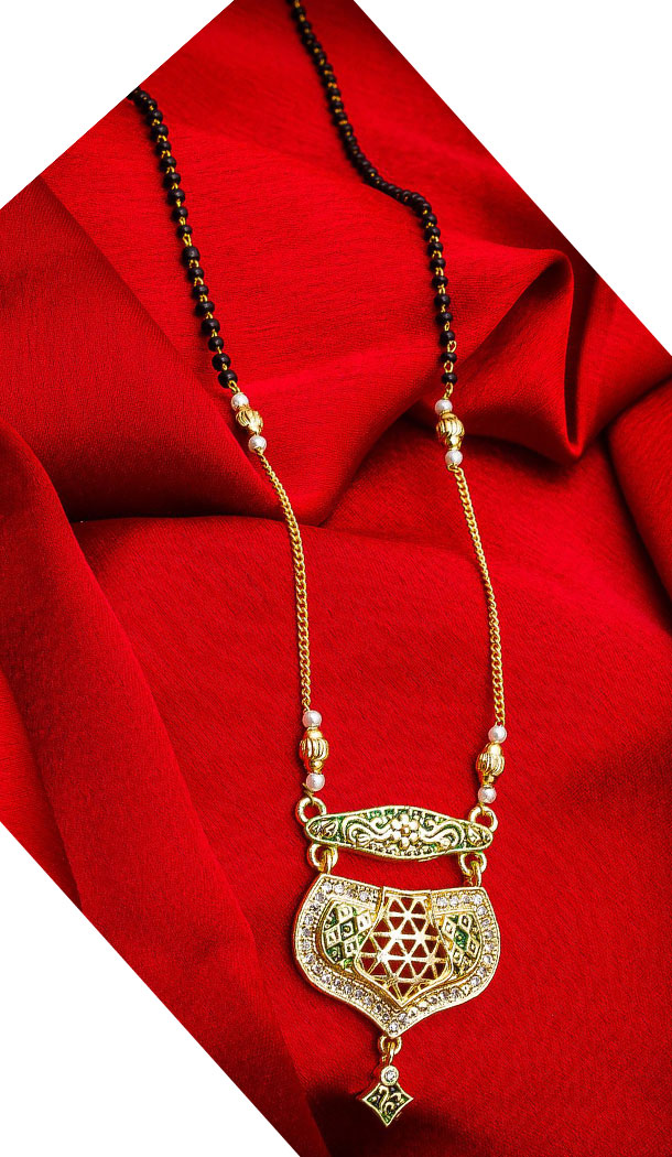 Chic Golden Color Alloy Pendant Designer Imitation Mangalsutra Jewellery - 533365550