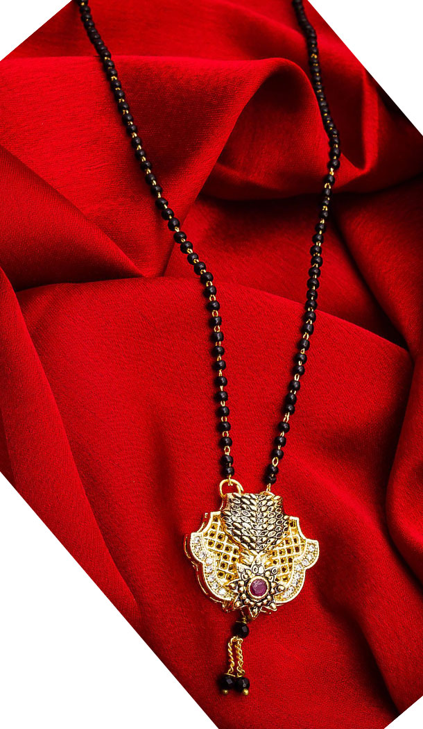 Captivating Golden Color Alloy Pendant Designer Imitation Mangalsutra Jewellery - 533365554