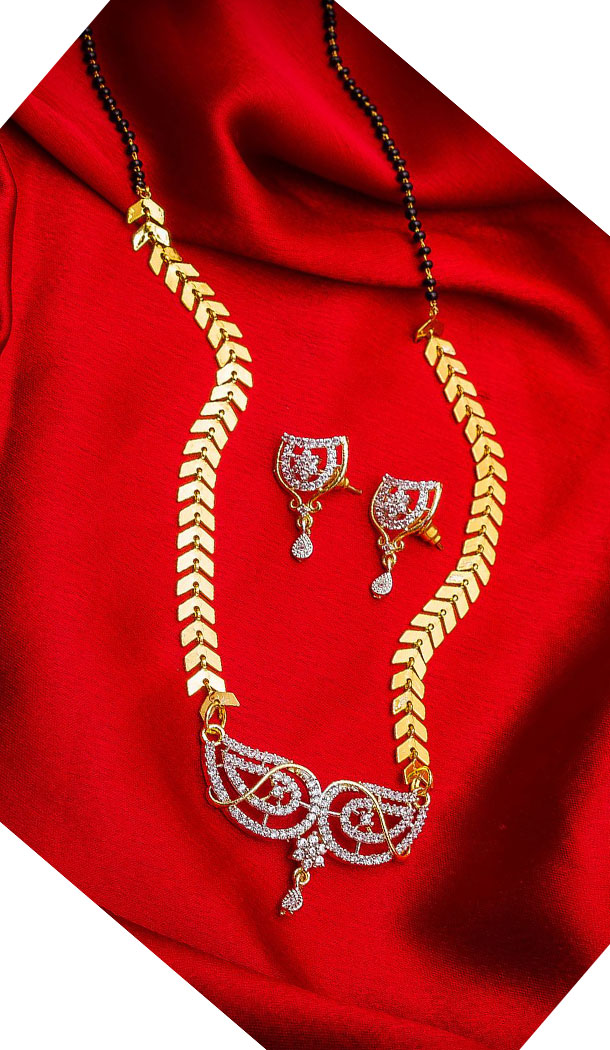 Charming Golden Color Alloy Pendant Designer Imitation Mangalsutra Jewellery - 533365559