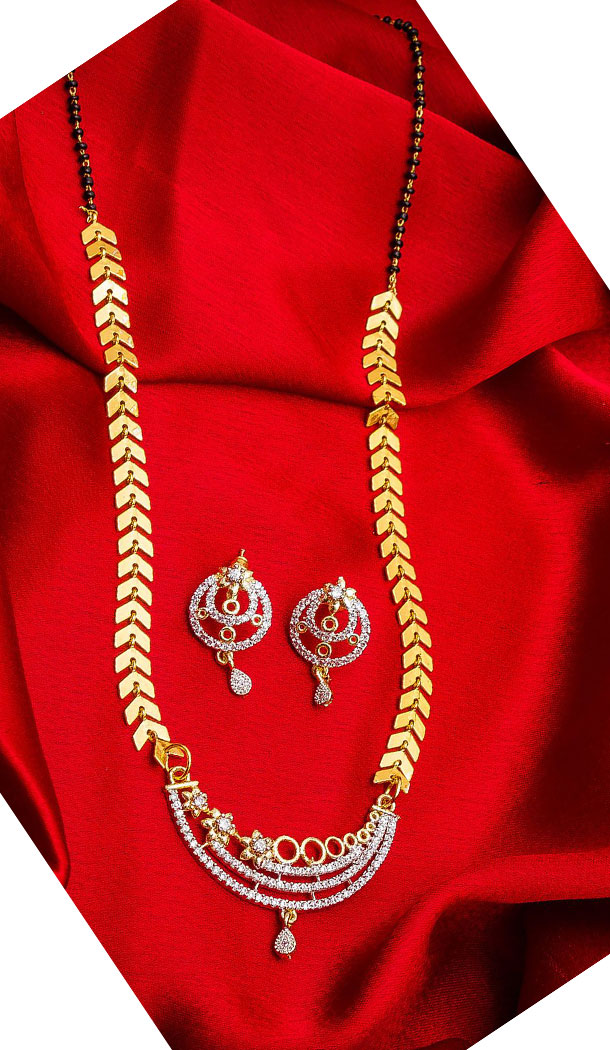 Ethnic Golden Color Alloy Pendant Designer Imitation Mangalsutra Jewellery - 533365563