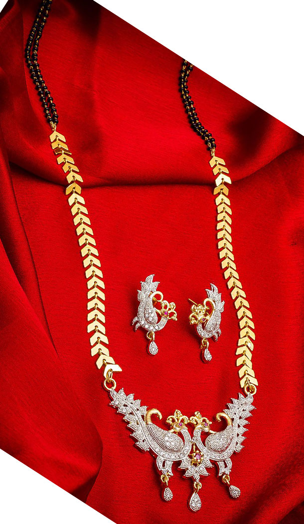 Gorgeous Golden Color Alloy Pendant Designer Imitation Mangalsutra Jewellery - 533365564