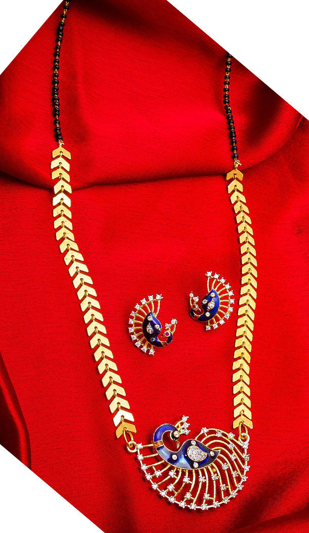 Alluring Golden Color Alloy Pendant Designer Imitation Mangalsutra Jewellery - 533365565