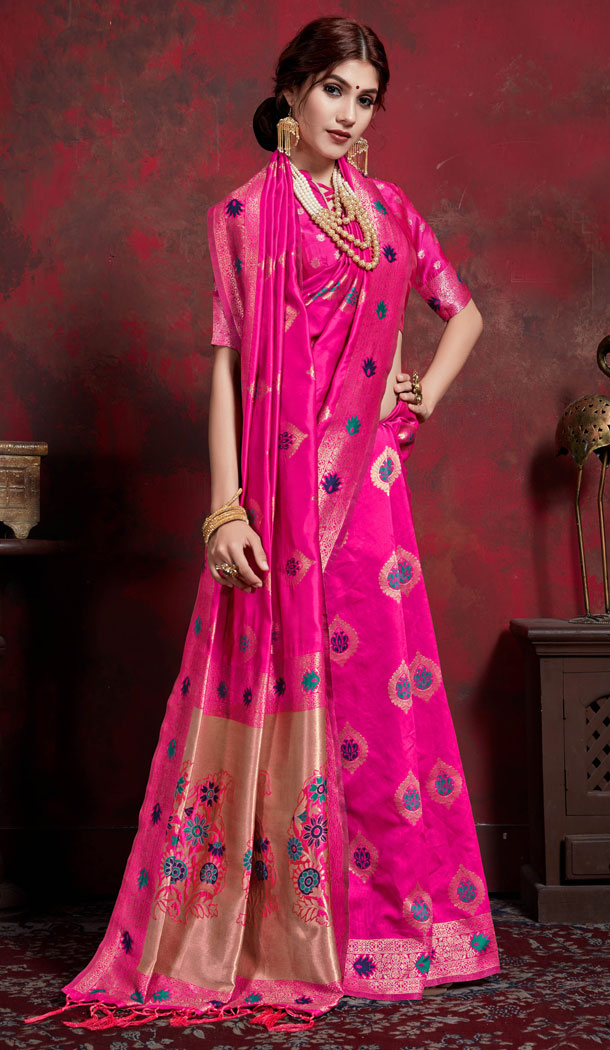 Pink Color Maher Silk Jacquard Treditional Saree Blouse - 533865641