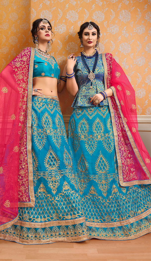 Sky Blue Color Banglori Silk Treditional Wear Plus Size Lehenga Choli - 535165802