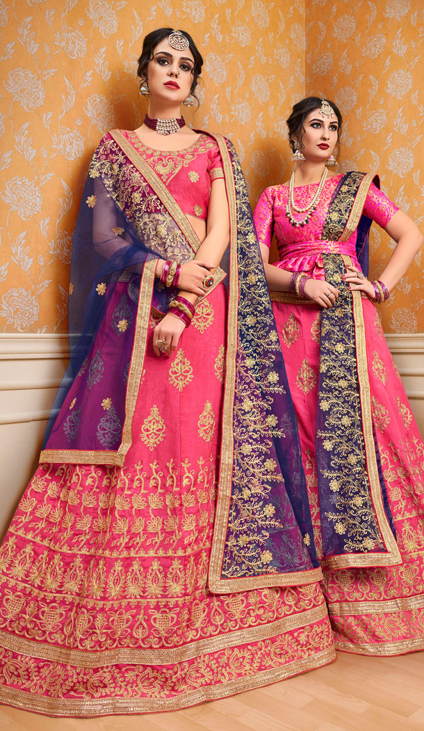 Pink Color Banglori Silk Treditional Wear Plus Size Lehenga Choli - 535165803