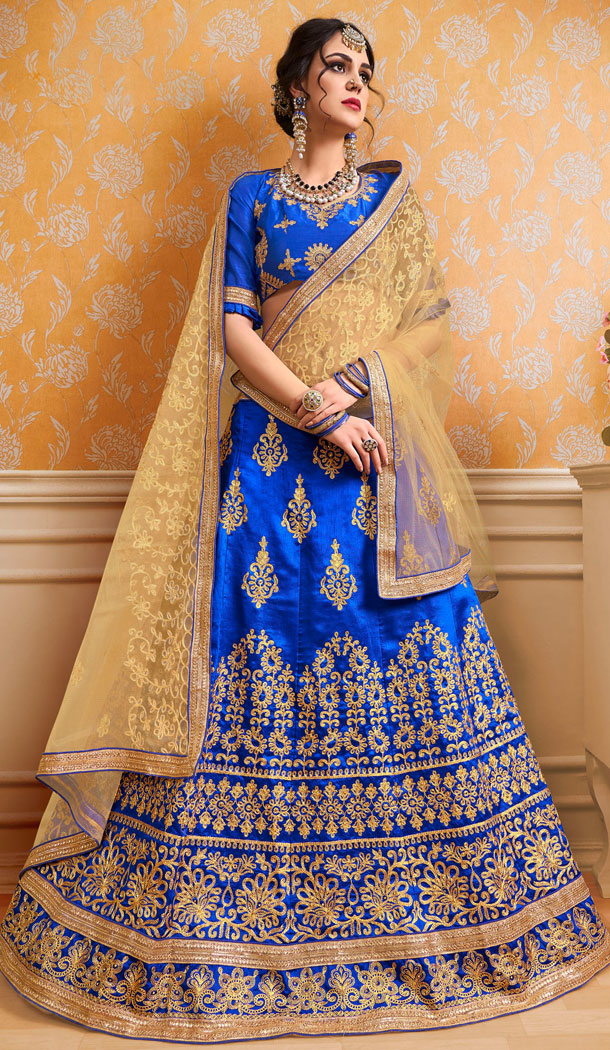 Royal Blue Color Banglori Silk Treditional Wear Plus Size Lehenga Choli - 535165804