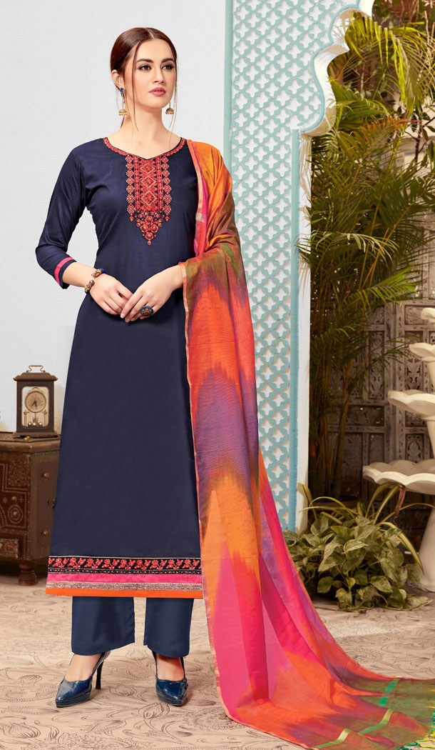 Plushy Blue Color Pure Cotton Casual Office Wear Plus Size Salwar Kameez - 537266035