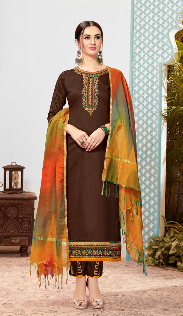 Unique Brown Color Pure Cotton Casual Office Wear Plus Size Salwar Kameez - 537266039