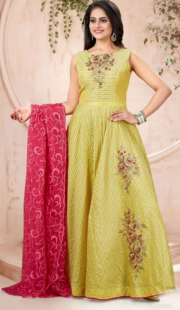 Yellow Color Chanderi Strip Designer Readymade Plus Size Gown Suit