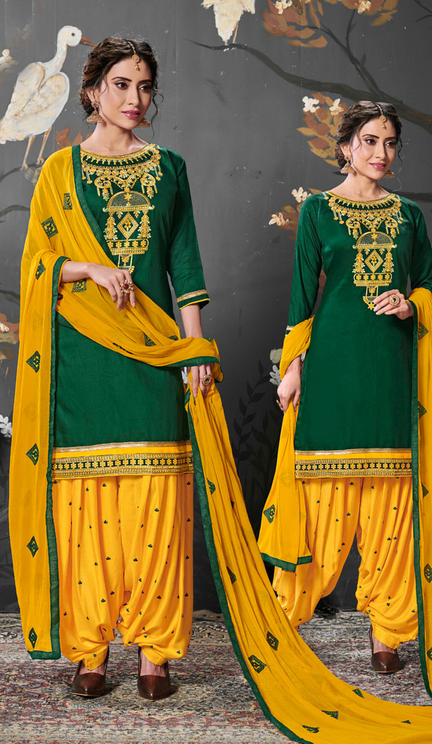 Green Color Jam Silk Cotton Punjabi Style Patiyal Salwar Kameez - 539966601