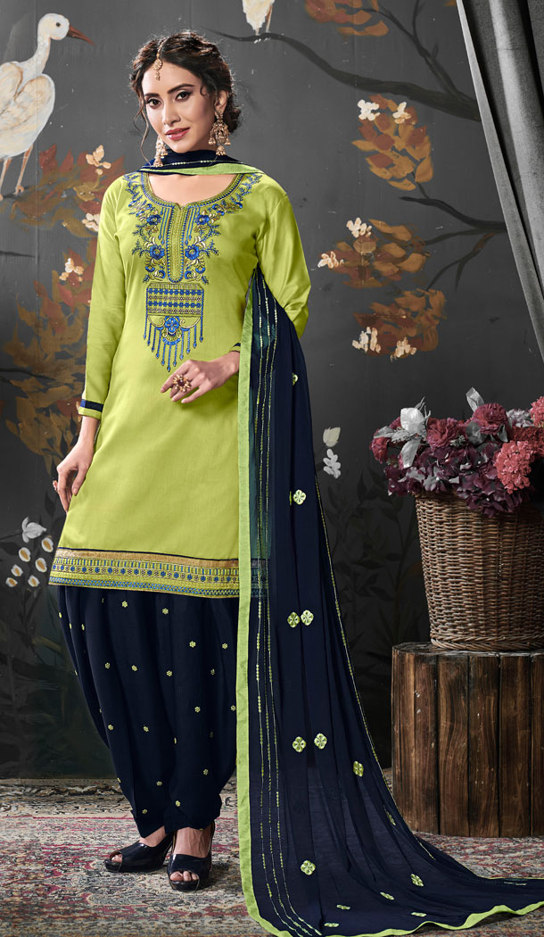 Light Green Color Jam Silk Cotton Punjabi Style Patiyal Salwar Kameez - 539966603