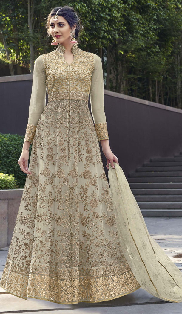 Attractive Light Pista Color Net Designer Long Abaya Style Salwar Kameez - 542166990