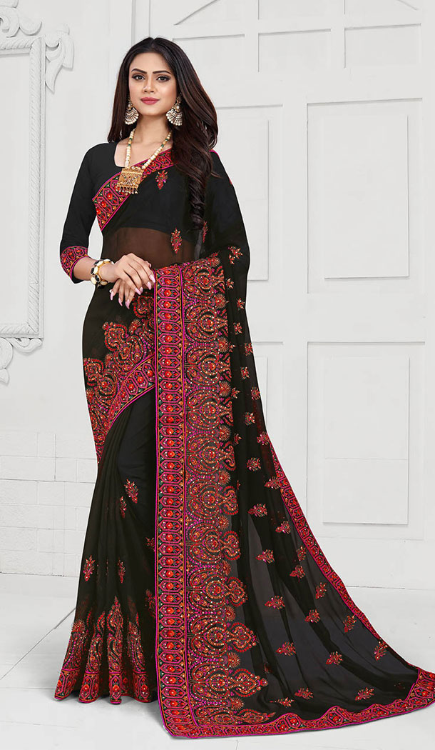 Black Color Georgette Designer Long Sleeve Blouse Party Wear Saree