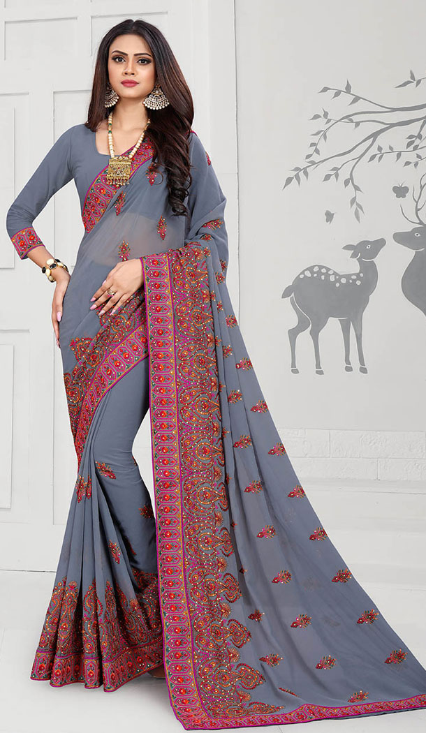 Alluring Grey Color Georgette Designer Long Sleeve Blouse Party Wear Saree - 65265411