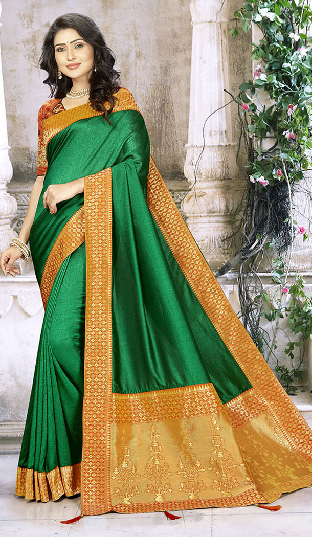 Enigmatic Green Color Chinon Silk Treditional Wear Saris Blouse - 65405543