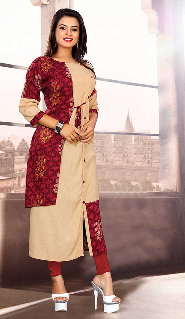 Cream And Maroon Color Khadi Cotton Party Wear Readymade Kurti - 65485622