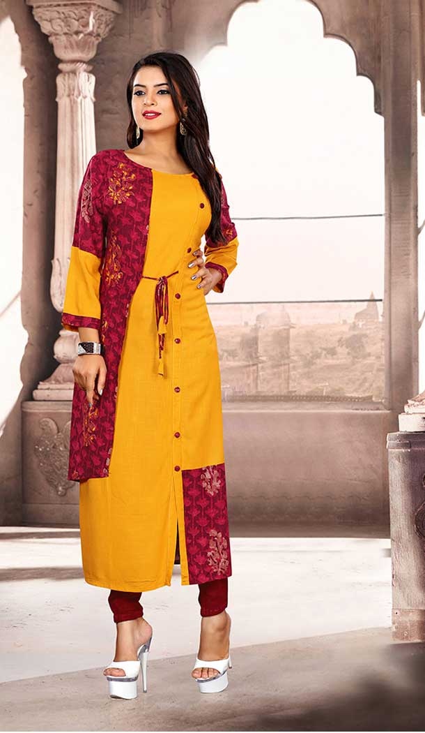 Musturd Yellow And Maroon Color Khadi Cotton Party Wear Readymade Kurti - 65485623