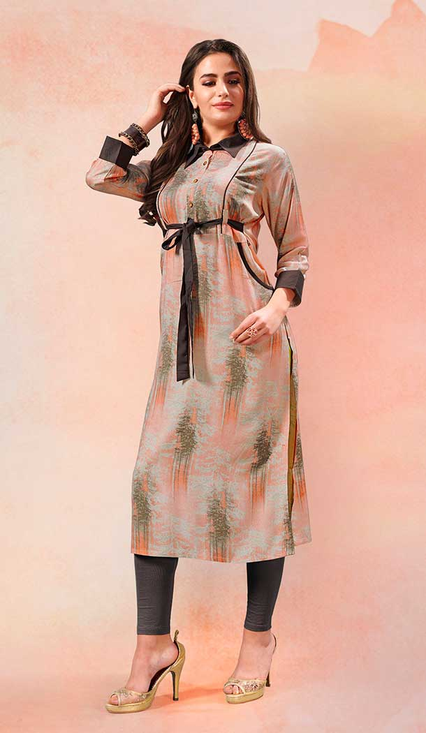Grey Color Rayon Casual Party Wear Readymade Kurti - 65535662