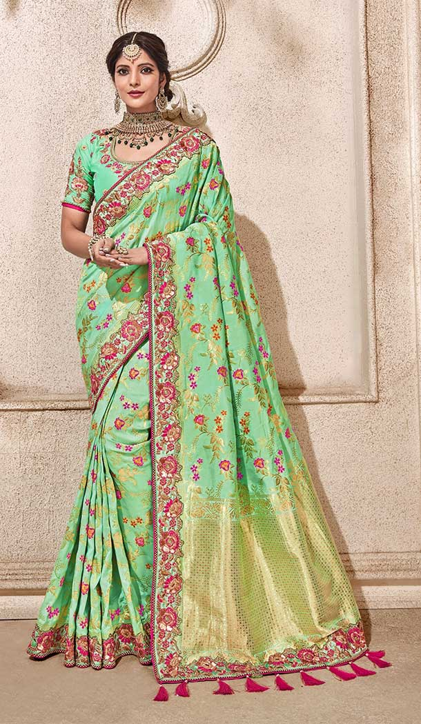 Aqua Green Color Dolla Pure Viscos Treditional Designer Saree Blouse - 546868230