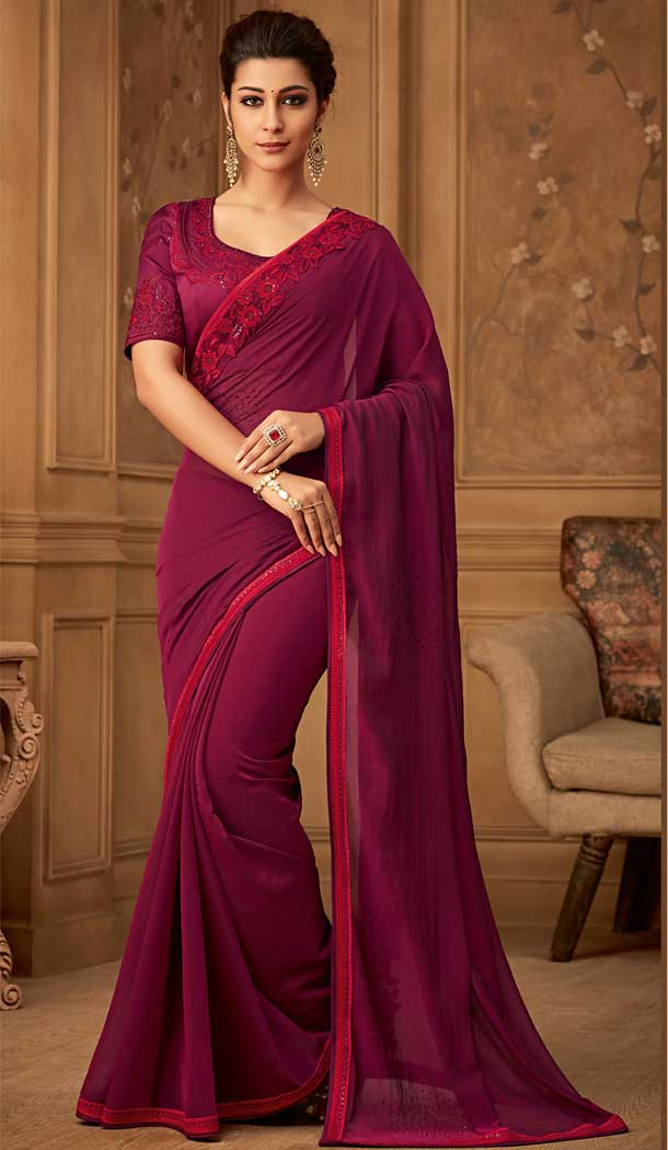 Wine Color Oracle Silk Designer Blouse with Party Wear Saree - 548068410
