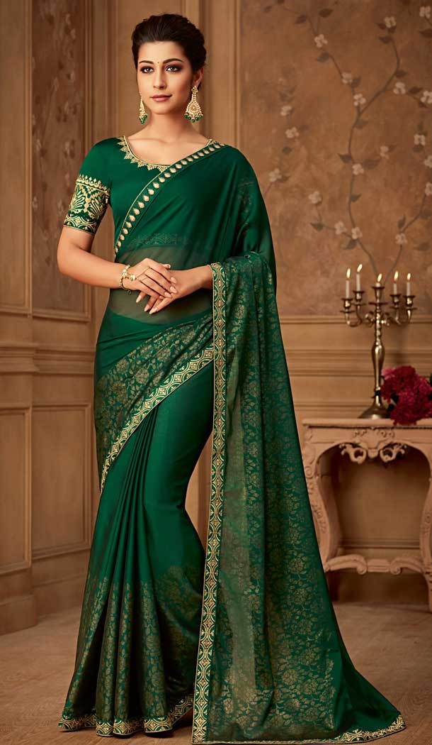 Green Color Oracle Silk Designer Blouse with Party Wear Saree - 548068412