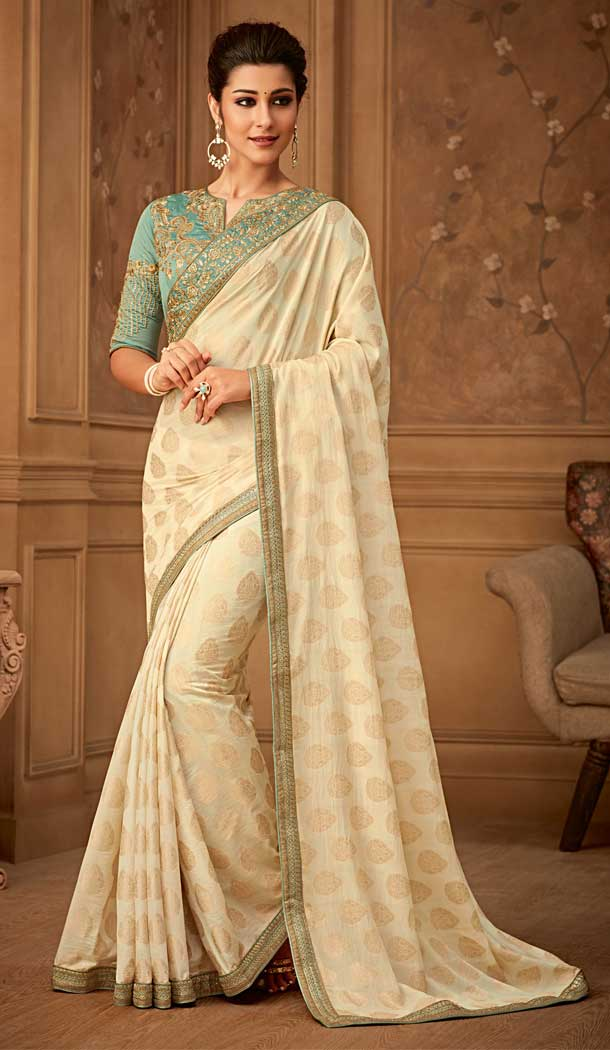 Off White Color Violin Silk Designer Blouse with Party Wear Saree - 548068415