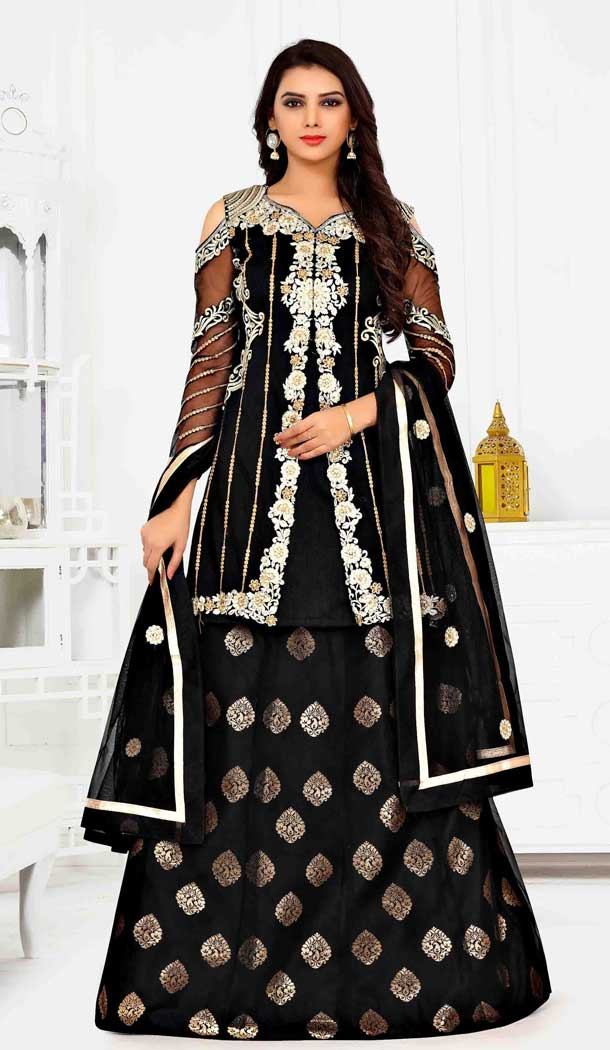 Unique Black Color Net Designer Style Anarkali Lehenga Salwar Kameez