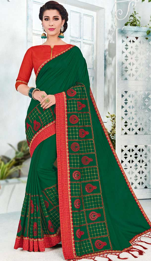 Green Silk Embroidered Traditional Saree Of India