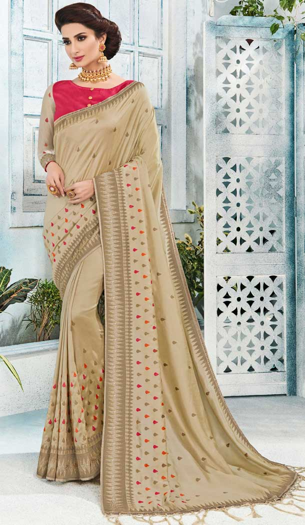 Beige Silk Embroidered Traditional Saree Of Bihar