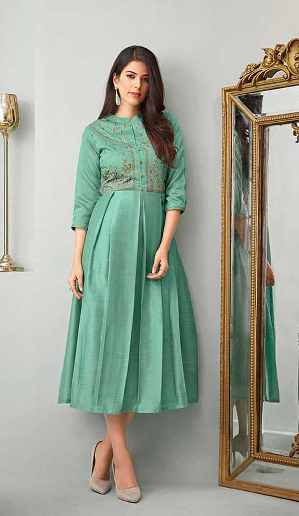 Aqua Green Color Cotton Slub Readymade Long Kurtis For Women