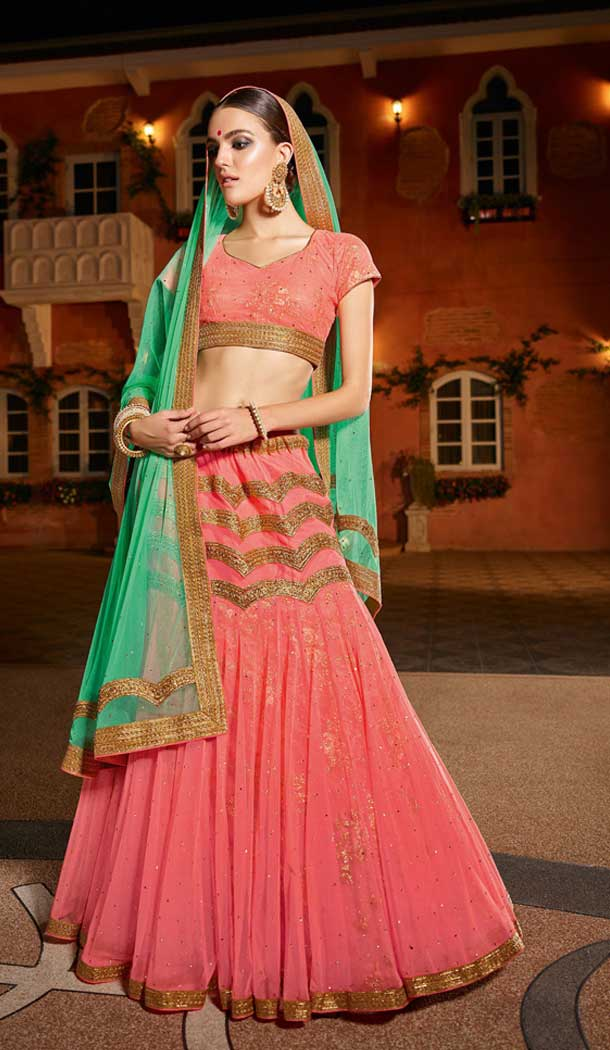 Rose Pink And Green Color Banglori Silk Gujrati Traditional Lehenga Choli