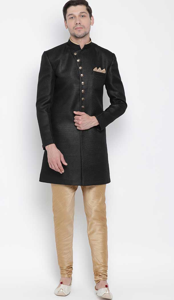 Black Color Cotton Blend Ready made Men Indo Western Sherwani