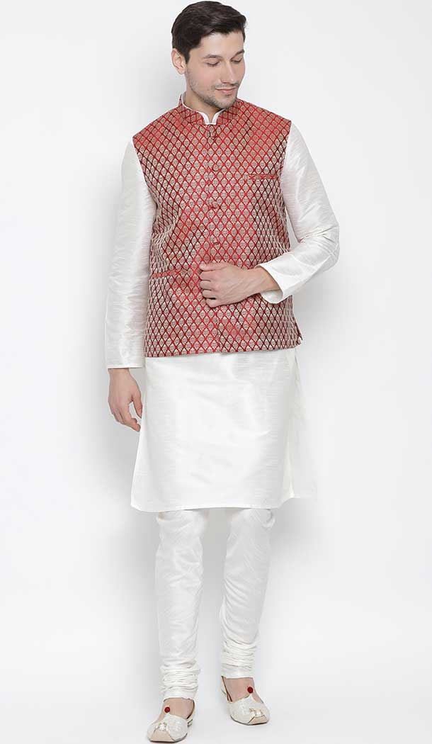 White Color Kurta Pajama With Jacket For Mens