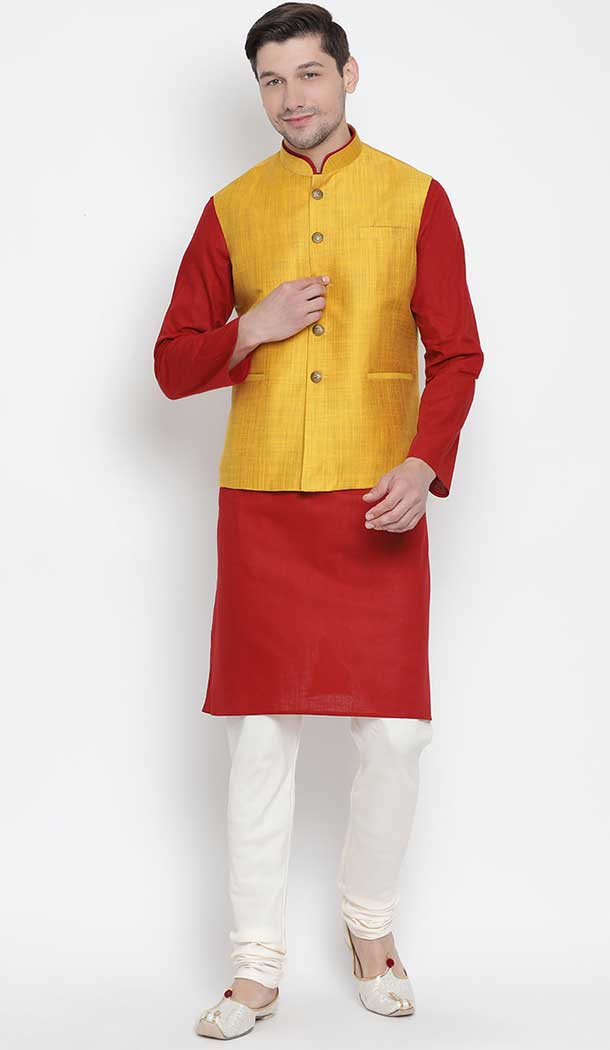 Maroon Kurta Pajama With Jacket For Groom