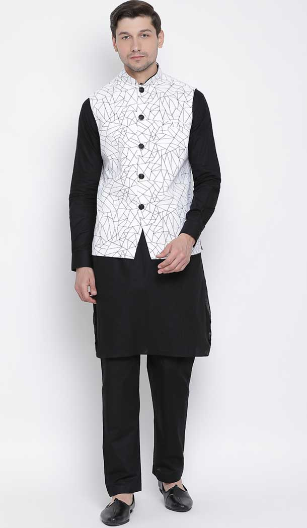 Black Kurta Pajama With White Jacket