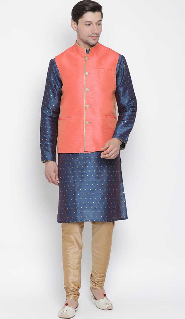 Royal Blue Designer Kurta Pajama With Jacket For Mens Online