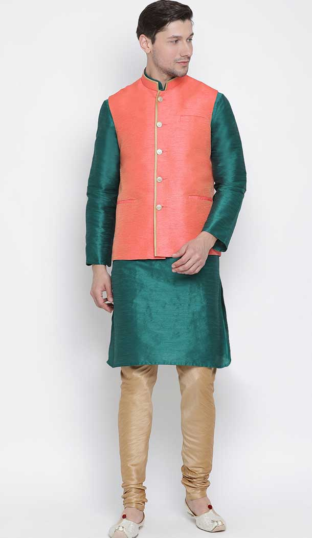 Green Kurta Pajama With Jacket Online India