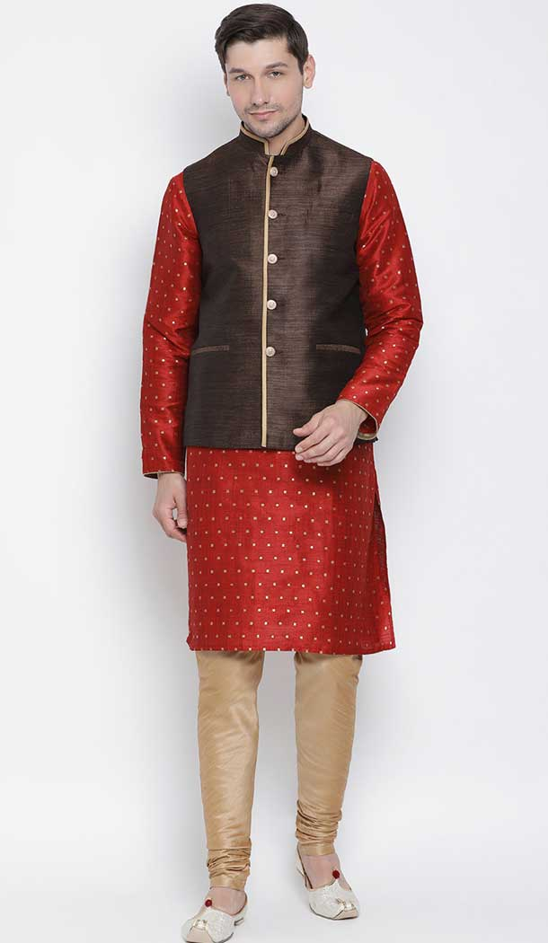 Maroon Kurta Pajama With Jodhpuri Jacket