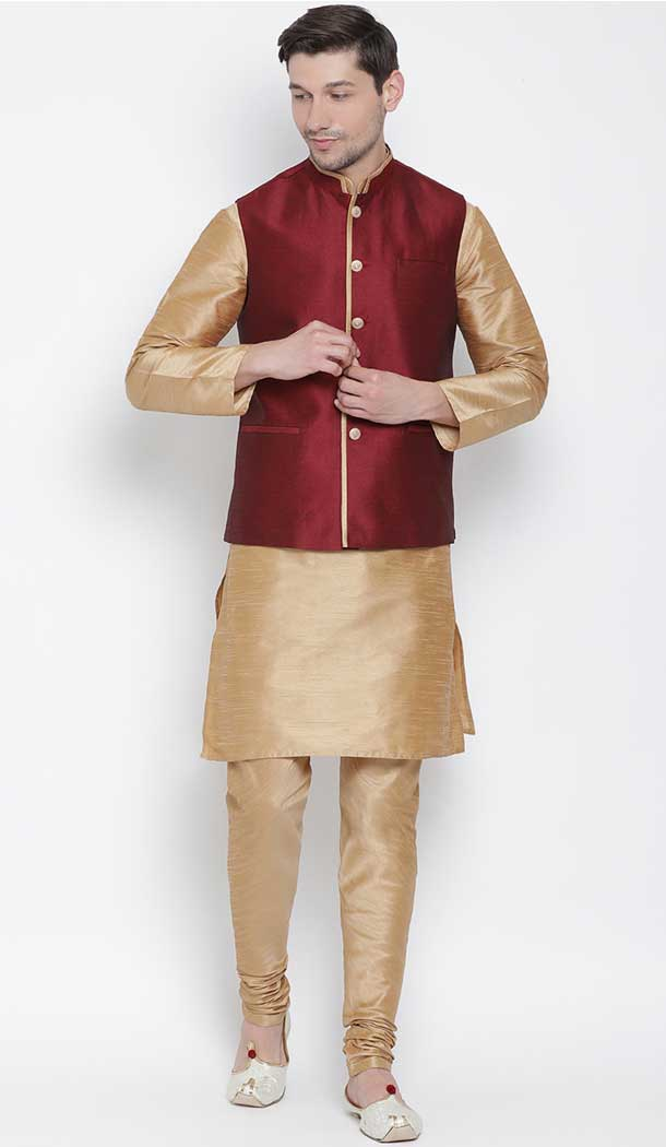 Rose Gold Party Wear Kurta Pajama With Nehru Jacket