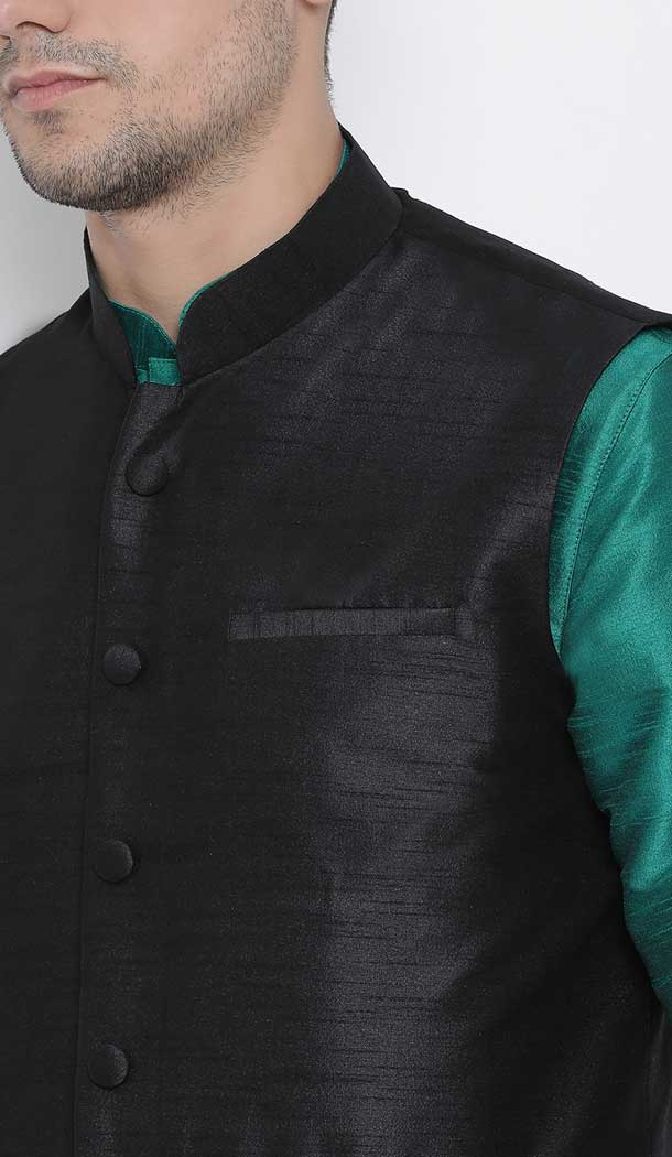 Green Dhoti Kurta With Jacket Party Wear