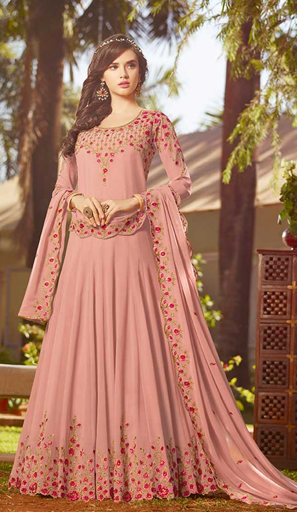 Baby Pink Color Georgette Pakistani Abaya Long Salwar Kameez
