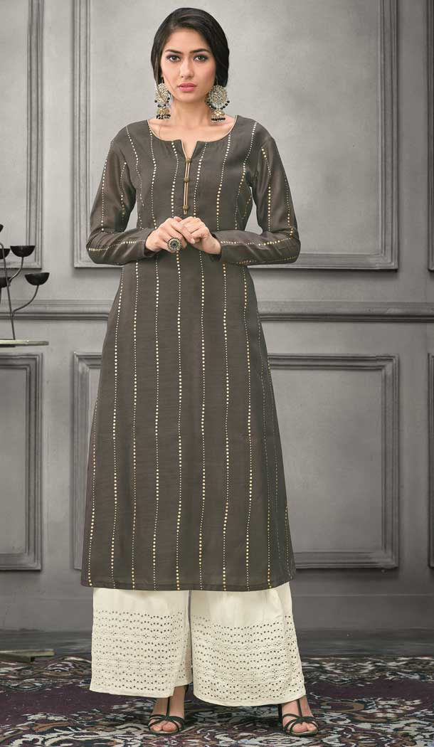 Ethnic Grey Color Munga silk Ready Made Palazzo Salwar Suit - 555069161