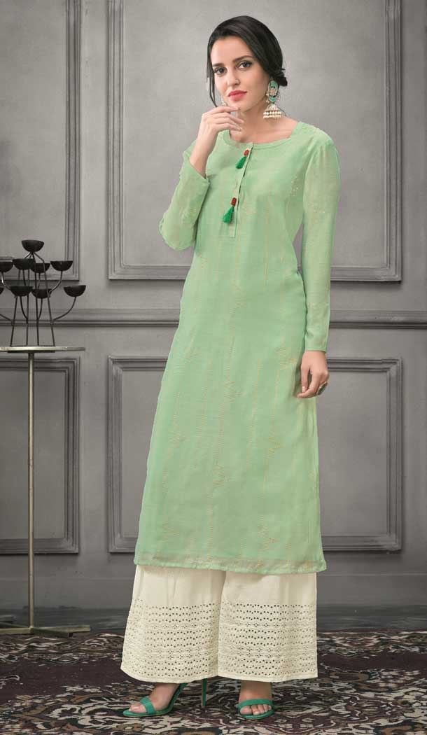 Attractive Green Color Munga silk Ready Made Palazzo Salwar Suit - 555069162