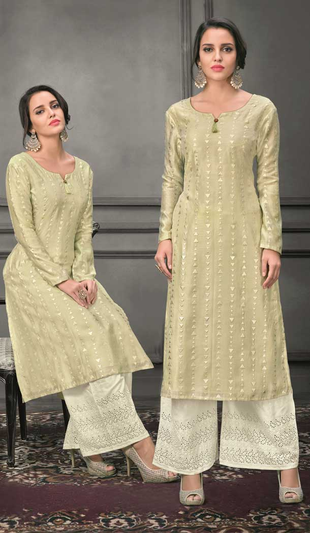 Exquisite Pista Color Munga silk Ready Made Palazzo Salwar Suit - 555069163