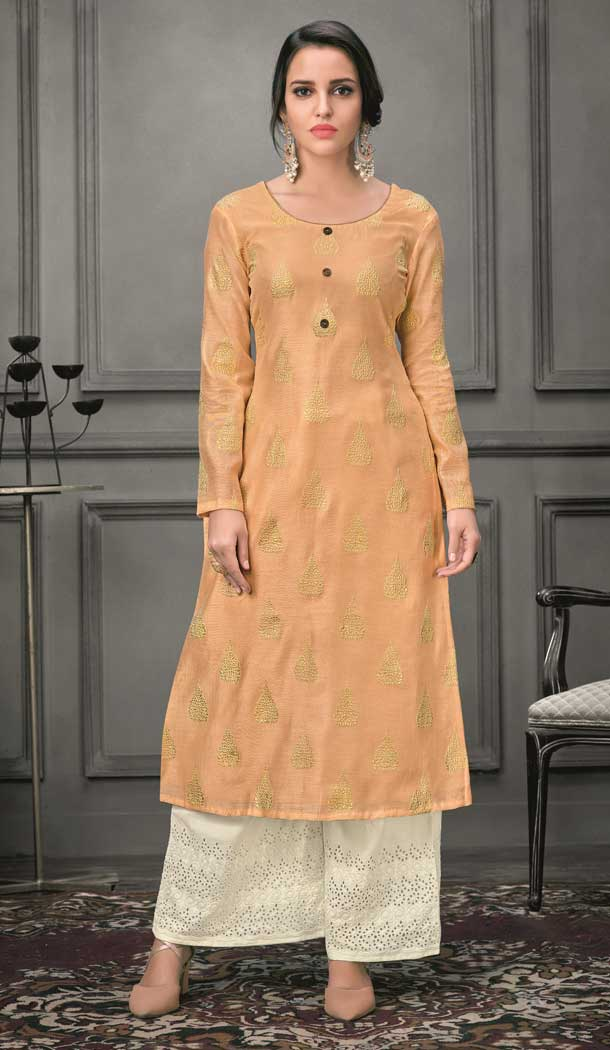 Light Orange Color Munga silk Ready Made Palazzo Salwar Suit - 555069164