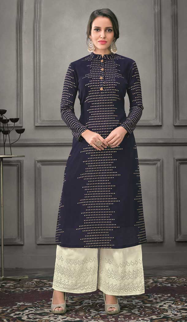 Dark Blue Color Munga silk Ready Made Palazzo Salwar Suit - 555069165