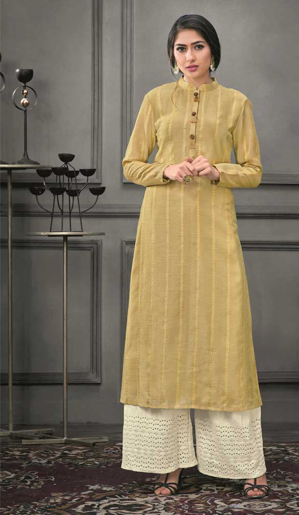 Fancy Beige Color Munga silk Ready Made Palazzo Salwar Suit - 555069166