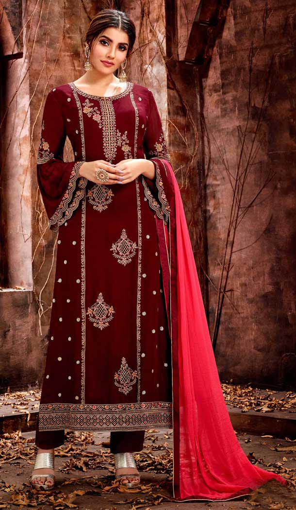 Luscious Maroon Color Georgette Evening Party Wear Salwar Kameez - 555869236