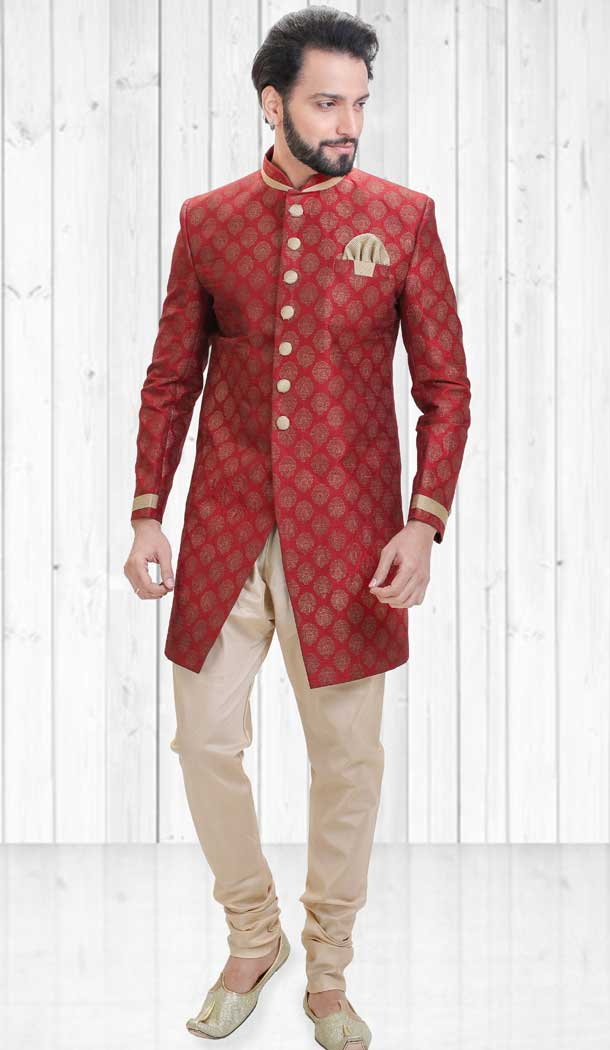 Red Color Dupion Indo Western Style Readymade Men Sherwani - 558069520