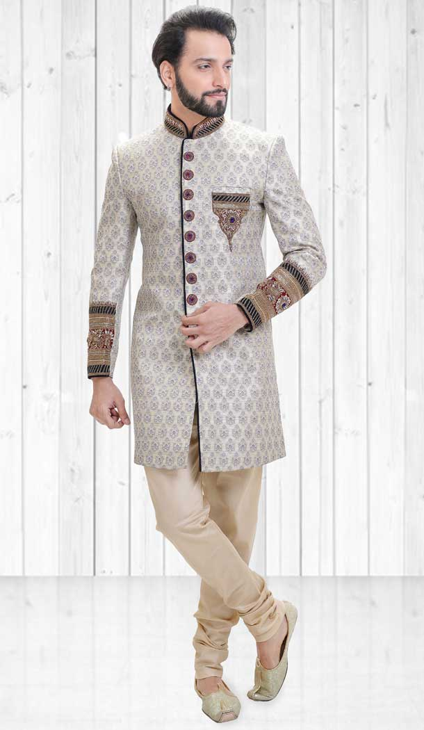 Grey Color Jacquard Indo Western Style Readymade Men Sherwani - 558069521